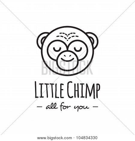 Vector funny cartoon monkey head logo. Line style chimp logotype.