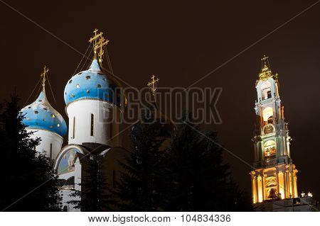 Night view of the Assumption Cathedral and the bell tower of the Trinity Lavra of St. Sergius
