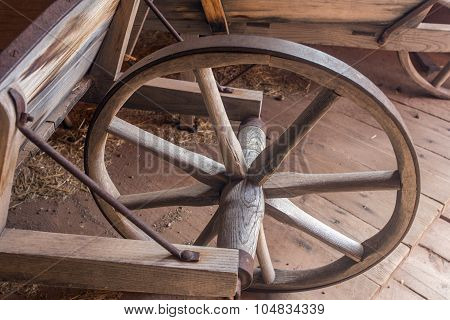 wheel on vintage wheelbarrow