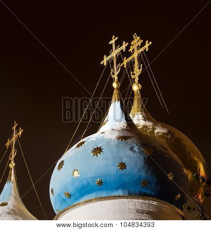 Domes and crosses of the Assumption Cathedral of the Trinity Lavra of St. Sergius at night