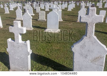 cemetery with cement stones