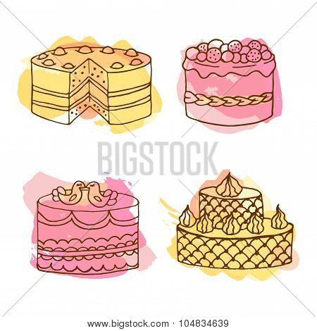 Vector cake illustration. Set of hand drawn cakes with colorful watercolor splashes.