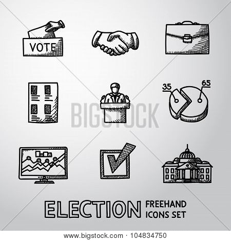 Set of handdrawn ELECTION icons with - vote box, handshake, portfolio, list, speaking man, infograph