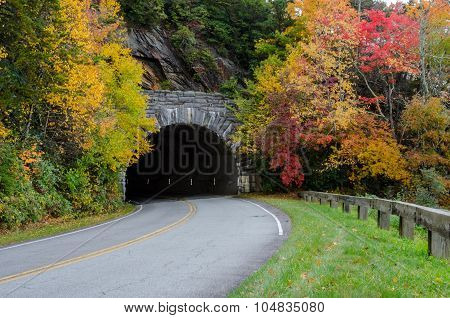 Blue Ridge Parkway Tunnel In Fall