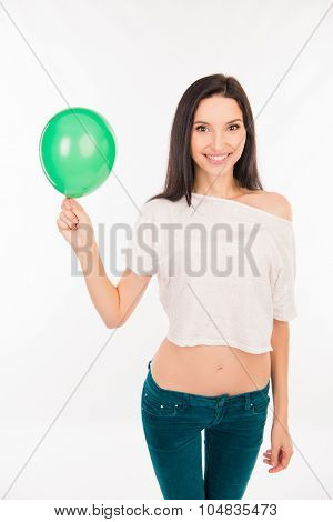 Happy Young Woman With Green Balloon