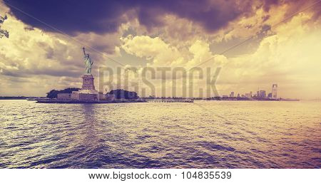 Vintage Style Statue Of Liberty With Dramatic Sunset, New York.