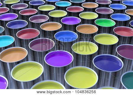Many different paint colors for printing (3D Rendering)