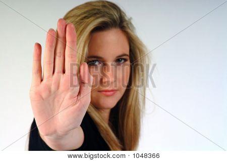 Girl Gesturing Stop