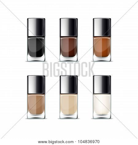 Nail Polish Packaging Package Pack Bottle for Manicure Vector Isolated on White Background