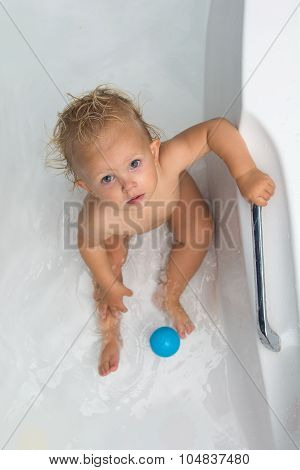 Baby Girl Is Having A Bath