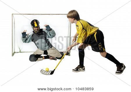 Floorball Player And Goalkeeper