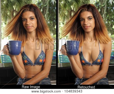 Beautiful Young Hispanic Woman With A Coffee Cup