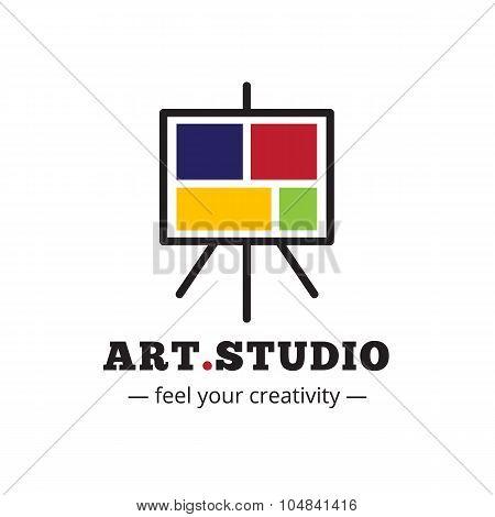 Vector minimalistic art studio logo. Easel logotype.