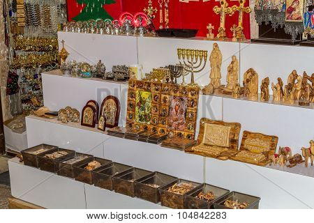 Jerusalem market in Old City, souvenirs and religious icons