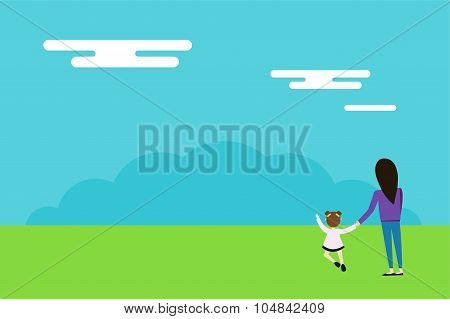 Happy family walks on nature background