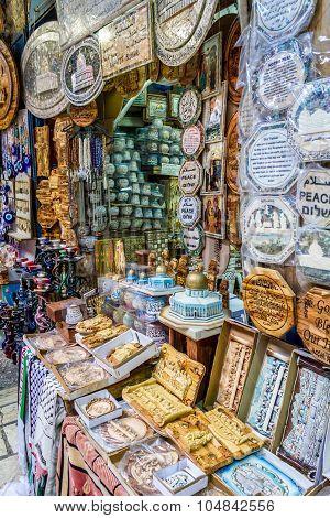 Jerusalem market in Old City, gift shop