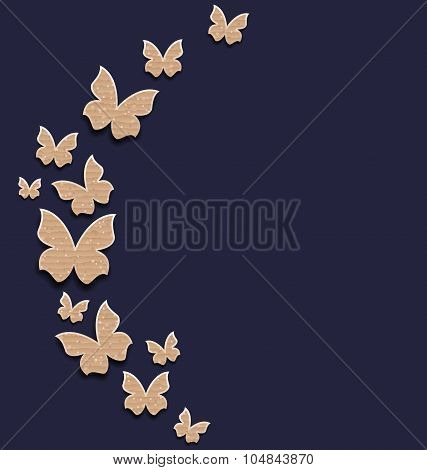 Holiday card with carton paper butterflies