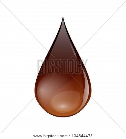 Chocolate or coffee droplet isolated on white background