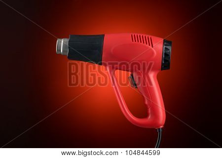 Heat Gun Isolated Without Sticker On Red Background