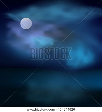 Moon and clouds on dark stormy sky