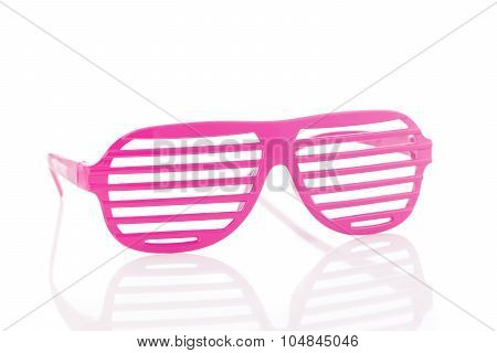 Pink 80's Slot Glasses Isolated On White