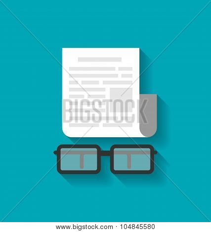 Paper Business Document and Eyeglasses