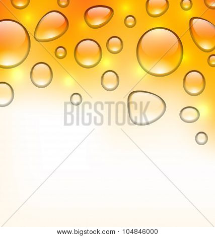 Clean water droplets on orange surface, copy space for your text