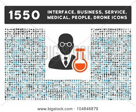 Chemist Icon and More Interface, Business, Medical, People, Awards Vector Symbols