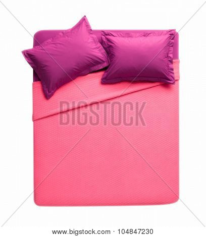 above view of isolated double bed on white background with pink and burgundy sheets