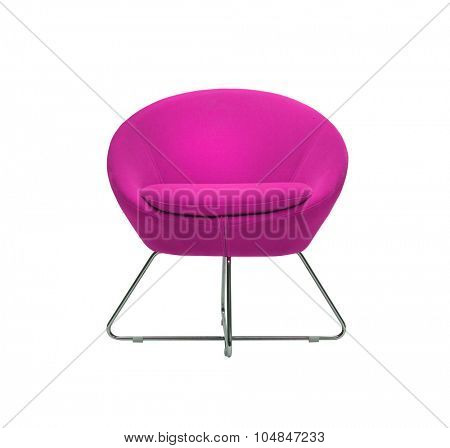 isolated modern purple armchair on white background