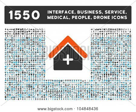 Clinic Icon and More Interface, Business, Medical, People, Awards Vector Symbols
