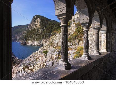 Portovenere, Coast View From San Pietro Church. Cinque Terre, Liguria Italy