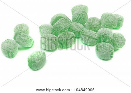 Green Mints Candy Isolated