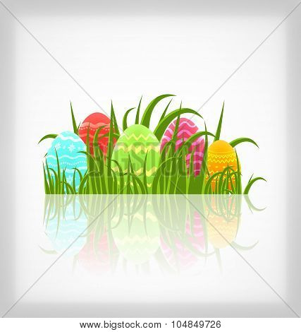 Easter natural background with traditional colorful eggs in gras