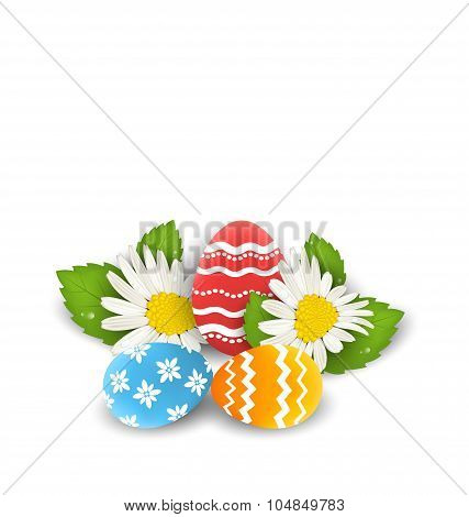 Traditional colorful ornate eggs with flowers camomiles for East