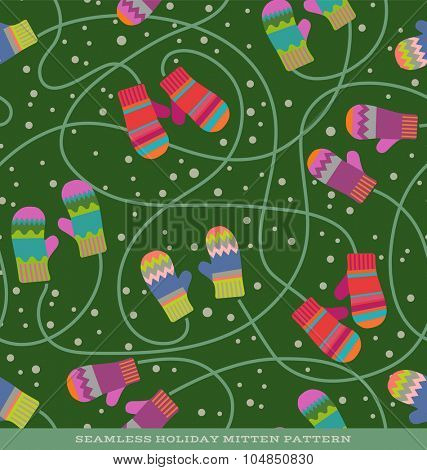 Seamless vector holiday pattern with pairs of mittens and snow on green background