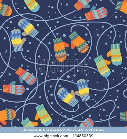 Seamless vector holiday pattern with pairs of mittens and snow on navy blue