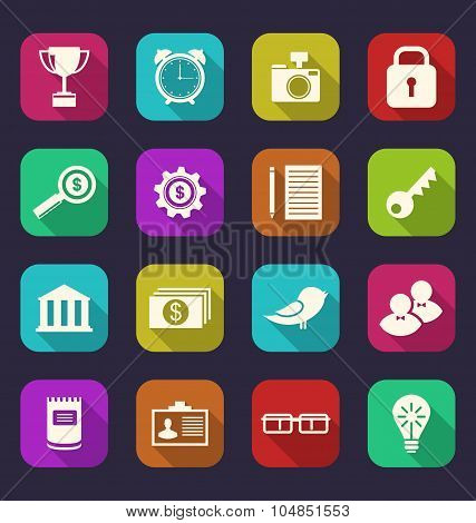 Set flat icons of business, office and financial items, style wi