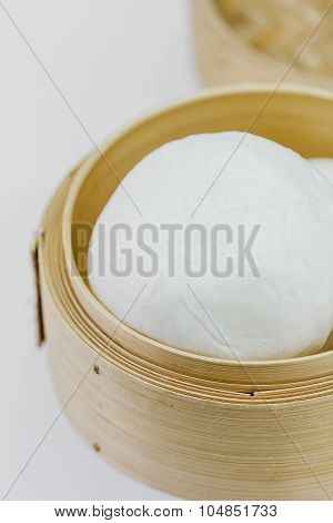 Chinese Steamed Bun In Bamboo Ware