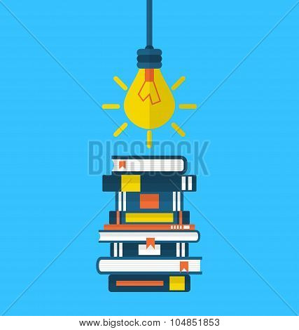 Concept education and learning, flat icons of heap textbooks and