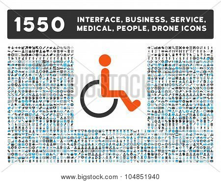 Disabled Person Icon and More Interface, Business, Medical, People, Awards Vector Symbols