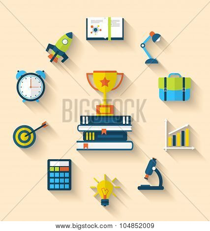 Flat icons of graduation and objects for high school and college