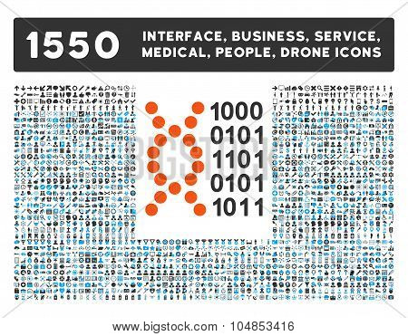 Dna Code Icon and More Interface, Business, Medical, People, Awards Vector Symbols