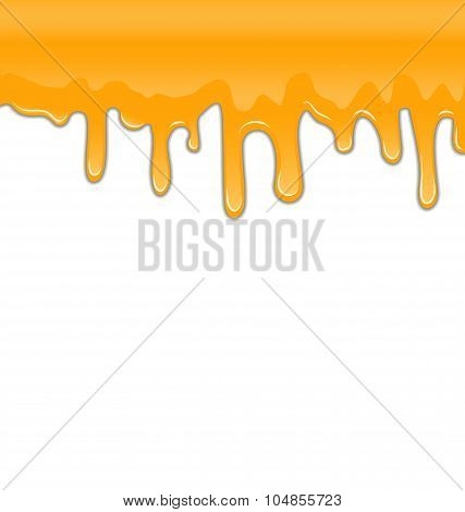 Texture of Sweet Honey Drips on White Background