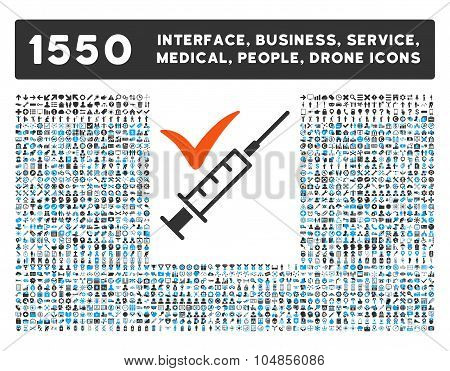 Done Vaccination Icon and More Interface, Business, Medical, People, Awards Vector Symbols