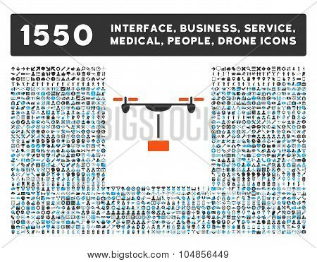 Drone Shipment Icon and More Interface, Business, Medical, People, Awards Vector Symbols