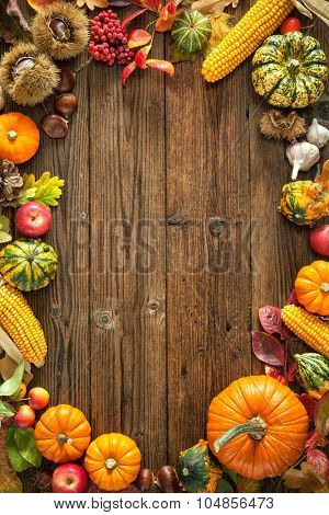 Harvest or Thanksgiving background with autumnal fruits and gourds on a rustic wooden table