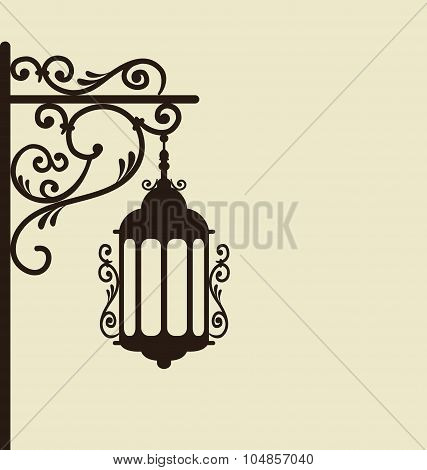 Vintage forging ornate street lantern isolated