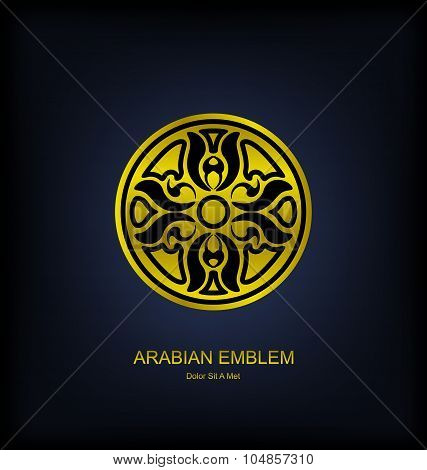 Golden Emblem with Arabian Traditional Ornament