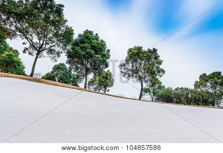 Sand Bunker On Golf Course, Landscape View